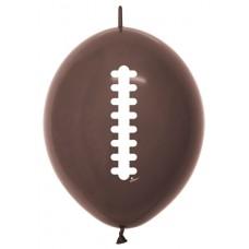 """Brown Footballs Link-O-Loon Latex Balloon 12"""""""