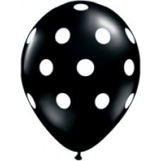 Big Polka Dots Black Latex Balloon 11""