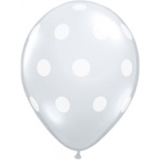 Big Polka Dots Clear Diamond Latex Balloon 5""