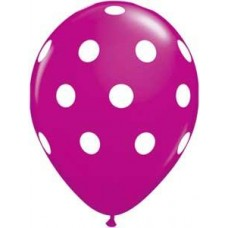 Big Polka Dots Pink Wild Berry  Latex Balloon 11""
