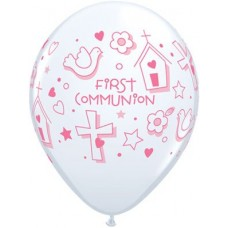 Pink First Communion Latex Balloon 11 in