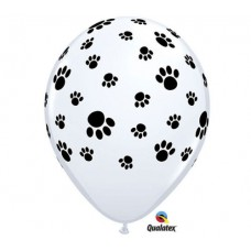 PAW PRINTS A RND LATEX White Balloon 11""