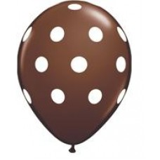 Big Polka Dots Chocolate BrownLatex Balloon 11""