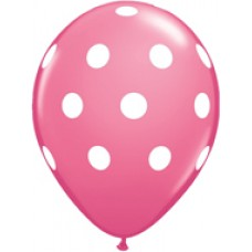 Big Polka Dots Pink Rose Latex Balloon 11""