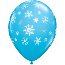 Snowflakes Blue Latex Balloon 11""