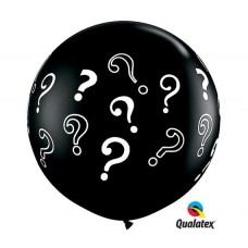 "Black Gender Party Reveal Question Mark Baby Shower Boy Girl 36"" Latex Balloon"