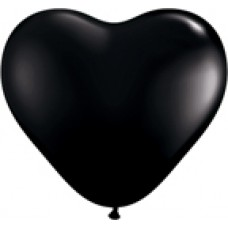 Black Onyx Heart Latex Balloon 6""