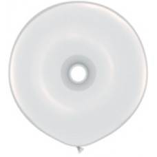 White Geo Donut Latex Balloon 16 inches
