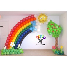 Rainbow & Garden Balloon Arch