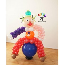 Clown sitting in a ball