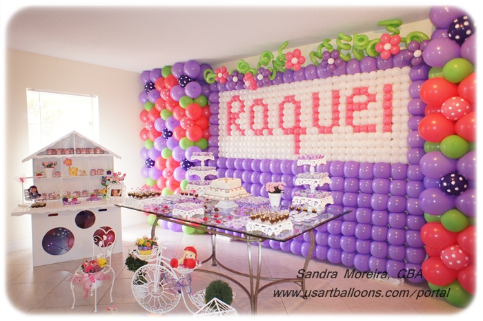 Garden first birthday for Balloon decoration on wall for birthday